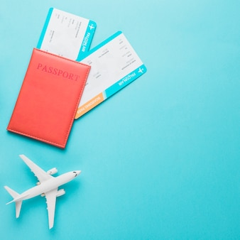 Plane passport and boarding pass for travel