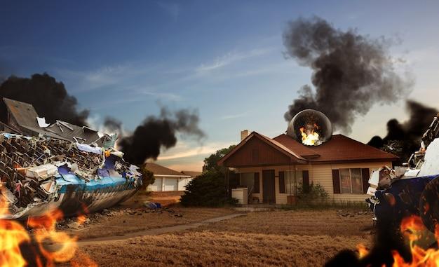 家の近くの飛行機の廃墟、あそこに燃えている