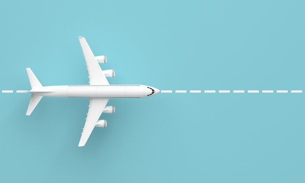 Plane on the runway. top view and blue surface. minimal idea concept, 3d rendering