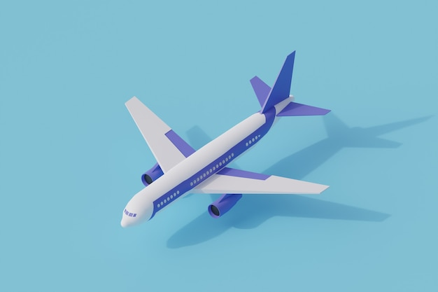 Plane single isolated object. 3d rendering