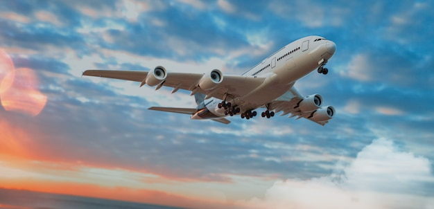 Plane and sky. 3d render and illustration.