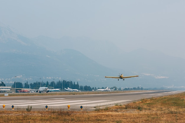 A plane of the skyteam taking off at tivat airport in montenegro