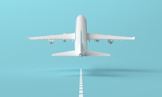 착륙 스트립에서 이륙하는 비행기