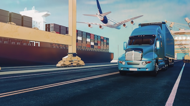 Plane trucks are flying towards the destination with the brightest