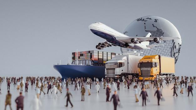 비행기 트럭은 가장 밝은 목적지를 향해 날고 있습니다. 3d 렌더링 및 그림입니다.