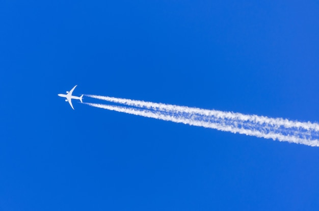 Plane with two engines aviation airport contrail