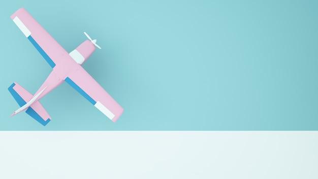 A planepaper art concept pastel color background -3d rendering
