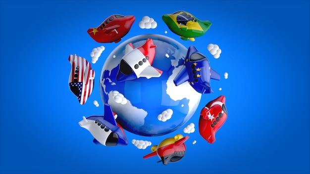 Planes around the world - 3d illustration
