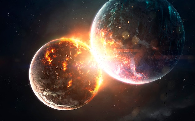 Planet cataclysm. science fiction space visualisation. cosmic explosion. elements of this image furnished by nasa