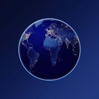 Планета земля глобус планеты земля из космоса ночью элементы изображения, представленного наса