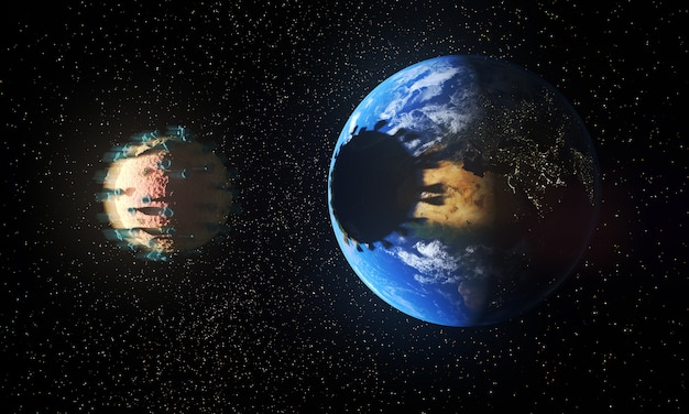 Planet earth being eclipsed by virus