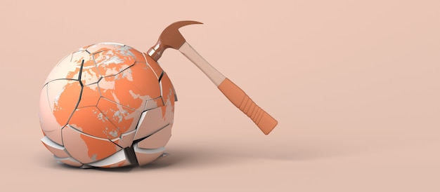 Planet earth cracked and broken by the blow of a hammer 3d illustration copy space