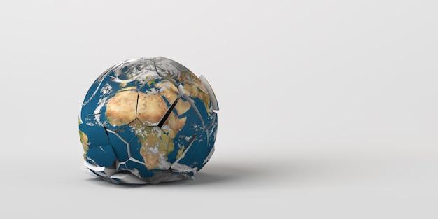 Планета земля рухнула на землю, а текстура земли разорвалась, предоставлено наса copy space