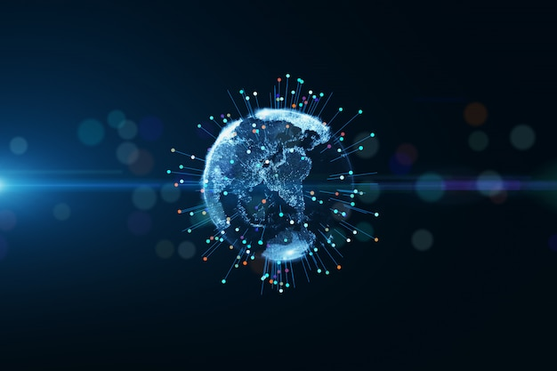 Planet earth globe particle conveying connectivity. abstract 3d rendering, technology big data network concept.