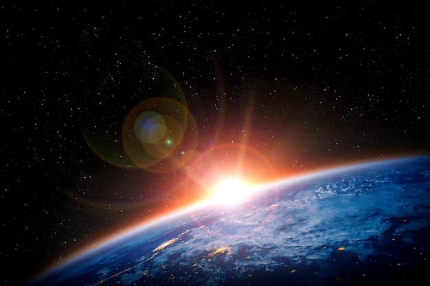 Планета земля вид земного шара из космоса, показывающий реалистичную поверхность земли и карту мира