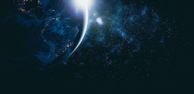現実的な地球の表面と世界地図を示す宇宙からの惑星地球地球の眺め