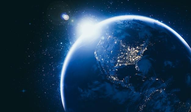 Планета земля вид глобуса из космоса, показывающий реалистичную поверхность земли и карту мира