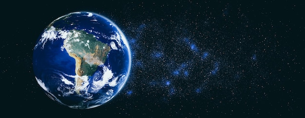 Planet earth globe view from space showing realistic earth surface and world map