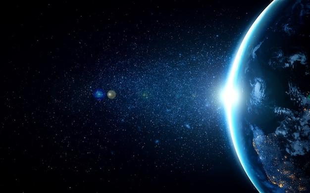 現実的な地球表面を示す宇宙からの惑星地球地球儀ビュー