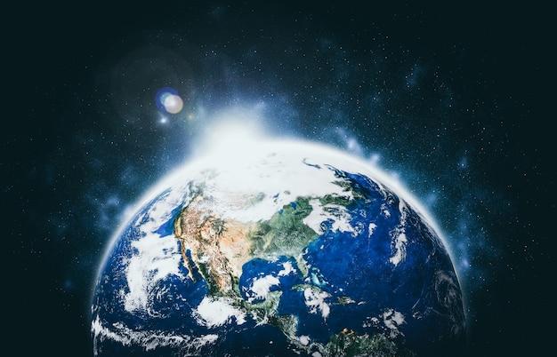 Планета земля вид земного шара из космоса