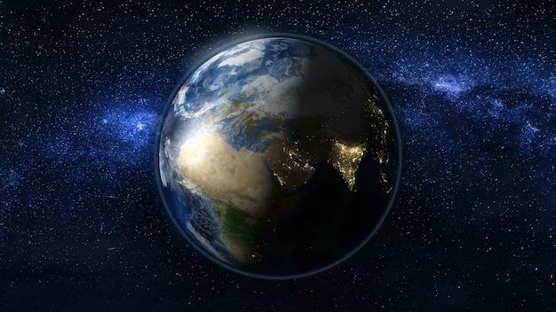 黒と青の星の宇宙の惑星地球。バックグラウンドで天の川。昼と夜の街の明かりが変わります。アフリカとアジアゾーン。 3dアニメーション。 nasaによって提供されたこの画像の要素