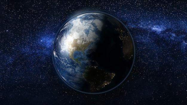 Планета земля в черном и синем вселенная звезд. млечный путь на заднем плане. дневные и ночные огни города меняются. зона северной и южной америки. 3d-анимация. элементы этого изображения предоставлены наса