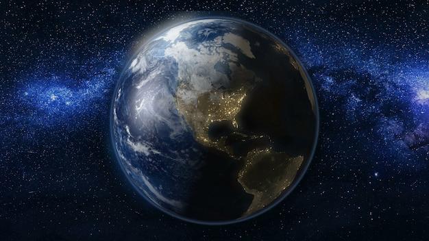 Планета земля в черной и синей вселенной звезд