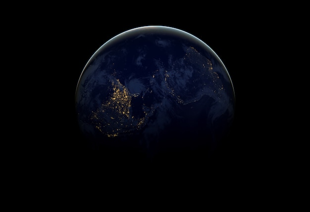 어두운 우주 공간에서 지구입니다.