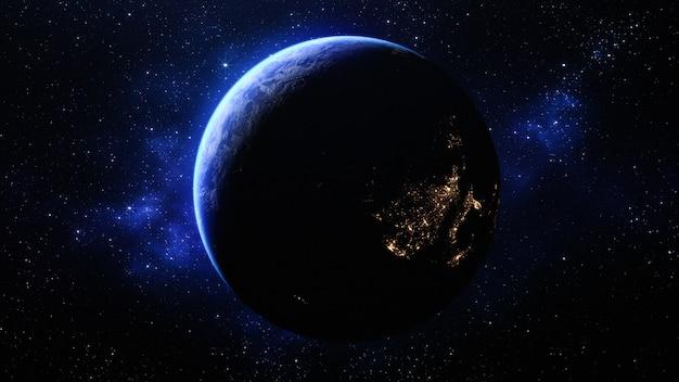 Планета земля в космосе - элементы этого изображения, предоставленного наса. 3d визуализация.