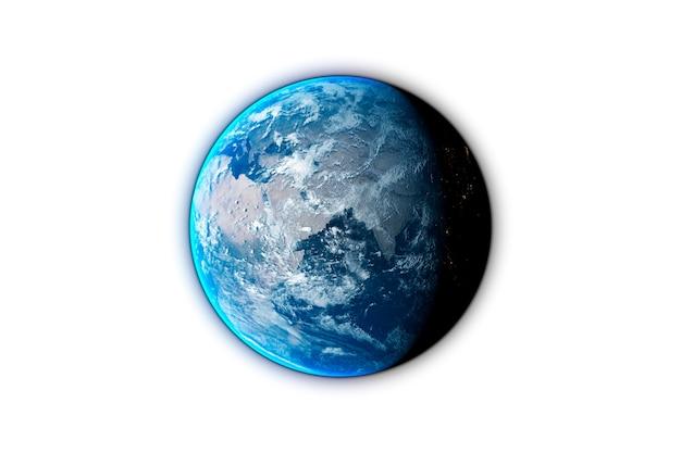 黒の背景に分離された惑星地球、3dレンダリング。 nasaによって提供されたこの画像の要素