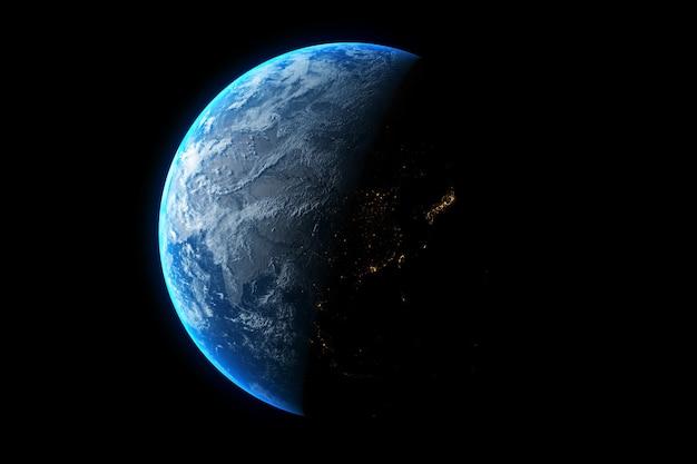 黒の背景に分離された惑星地球