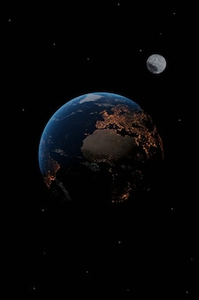 Planet earth and moon isolated on black
