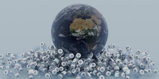Планета земля над множеством канистр с вакциной от коронавируса на синем фоне
