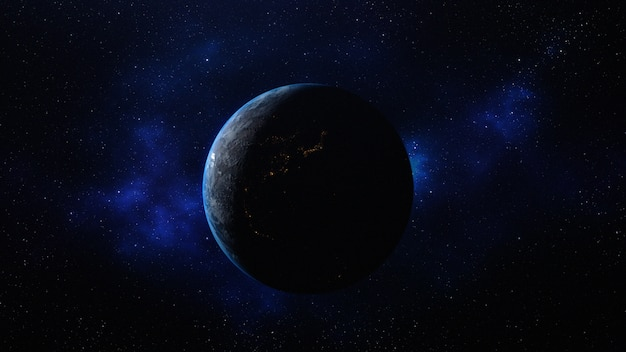 Planet earth in the space