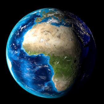 Planet earth with clouds, europe and africa. black background.