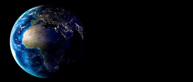 Planet earth with clouds, europe and africa. copy space.
