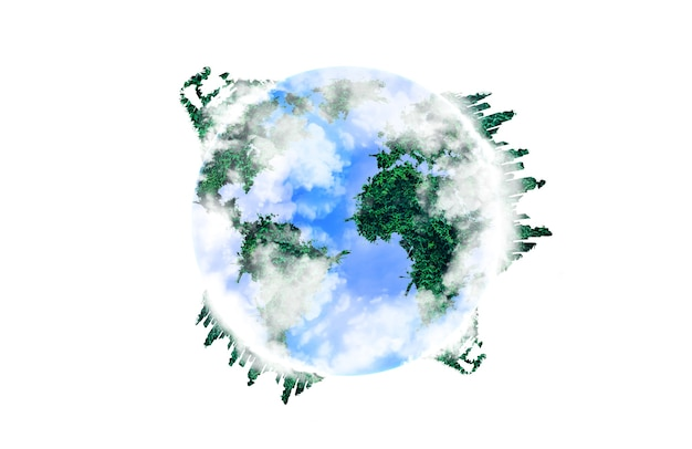 Планета земля с континентами из зеленой травы. экологичная концепция. изолированные на белом фоне. защита окружающей среды.