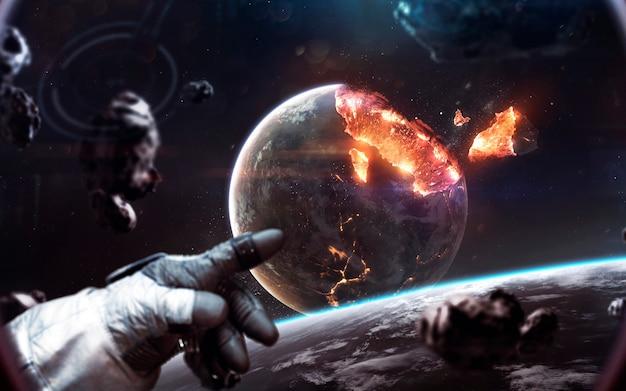 행성 폭발. 우주의 종말은 우주 물체를 파괴합니다. nasa에서 제공 한이 이미지의 요소