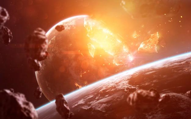 Взрыв планеты. апокалипсис в космосе, уничтожающий космический объект. элементы этого изображения, предоставленные наса