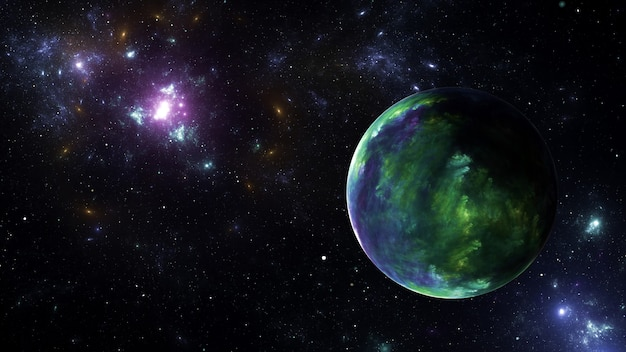 Planet in galaxy star clusters, colored gas clouds in abstract space. outer space. space nebula. 3d render