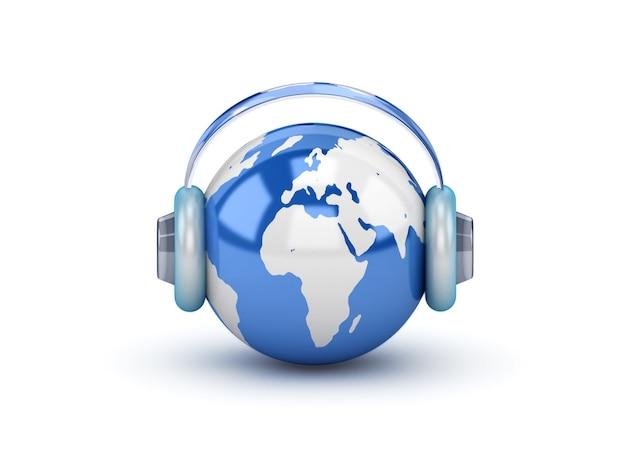 Планета в наушниках, слушая музыку