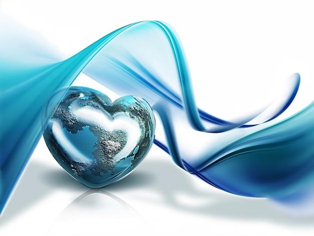 Планета в форме сердца на фоне волн