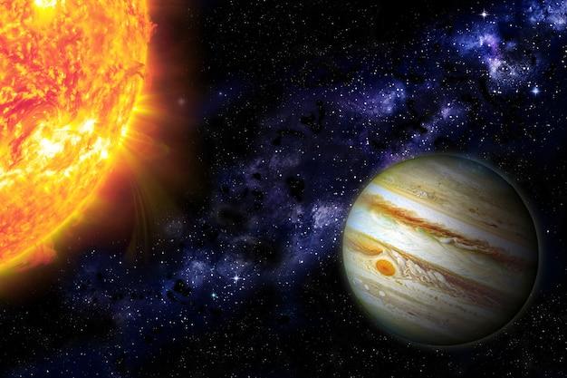 행성 목성과 태양. 우주 은하, 행성 및 별. 삽화. nasa에서 제공한 이 이미지의 점성술 요소입니다. 삽화.
