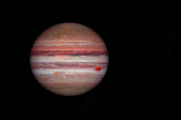 Планета юпитер на темном фоне. элементы этого изображения были предоставлены наса. для любых целей.