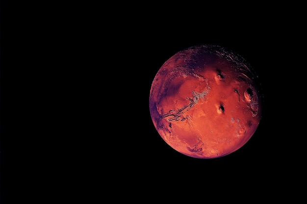 Planet mars, on a dark background. elements of this image were furnished by nasa. high quality photo