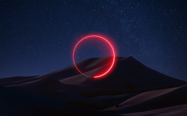 The planet mars fantastic landscape space sky reflection of neon light astronauts gravity stars