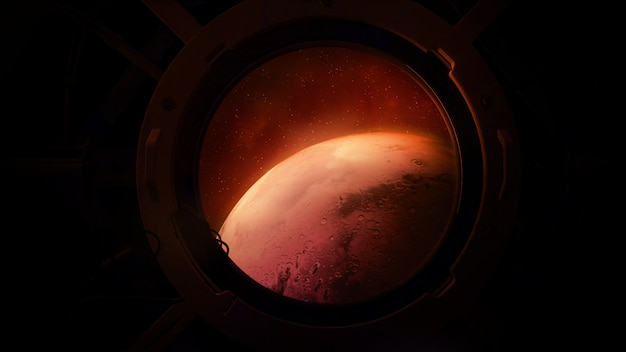 Planet mars from the porthole of a spaceship.