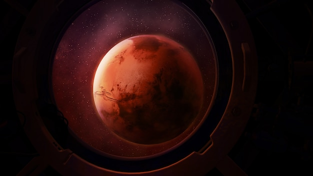 Planet mars from the round spacecraft porthole