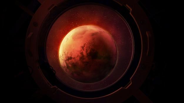 Планета марс из круглого иллюминатора космического корабля.