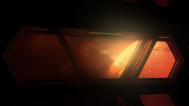 Planet mars is visible in the windows of a passing spaceship.